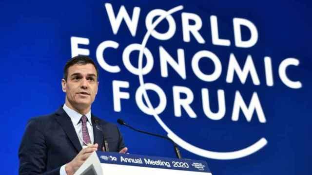 El presidente del Gobierno, Pedro Sánchez, durante su intervención en Davos.