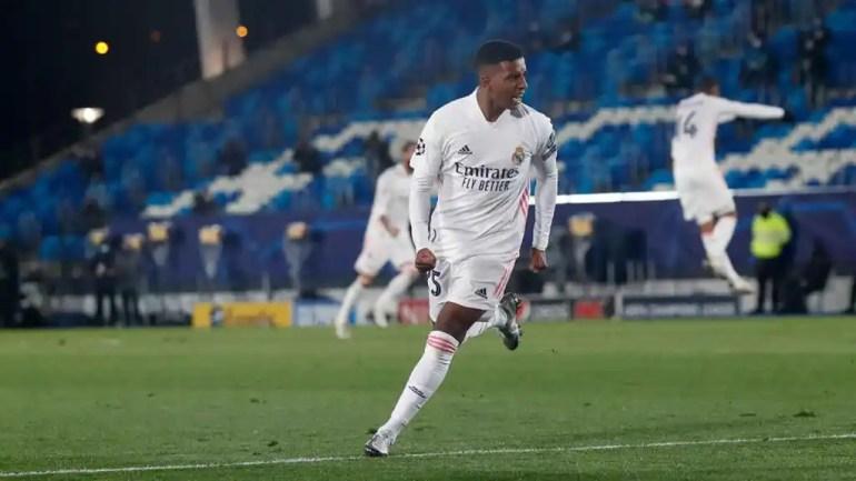Rodrygo Goes celebrates his goal against Inter Milan
