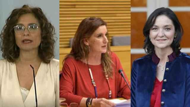 María Jesús Montero, Mercedes Caballero y Reyes Maroto.