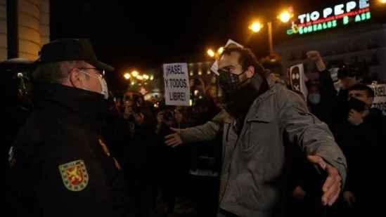 Manifestación por la libertad del rapero, este miércoles, en Madrid.