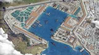 Reconstrucción de un arsenal de la Armada española en el siglo XVIII.