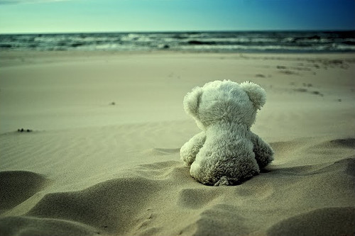 beach, cute, loneliness, love, teddy