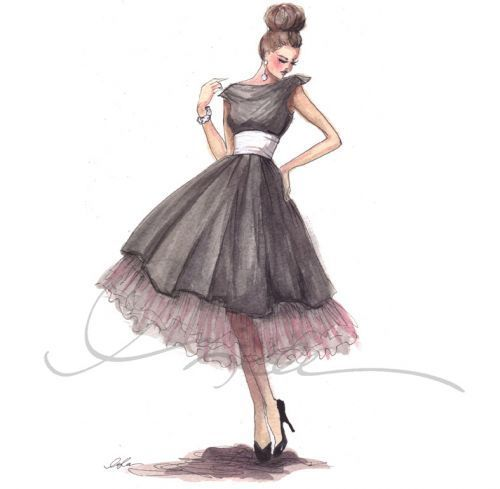 art, drawing, dress, fashion, girl