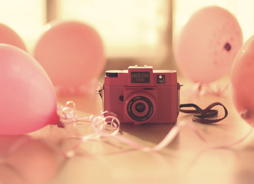 balloons, camera, lomo, photography, pink