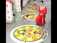 Vidya Balan spotted at a rangoli competition in Mumbai