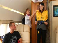 Photos: Tennis player Ana Ivanovic as air stewardess during flight to Singapore