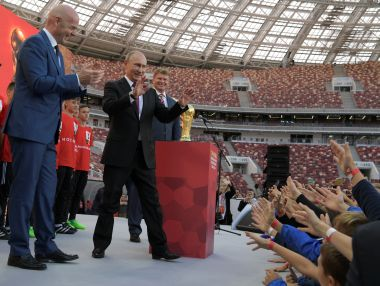 FIFA president Gianni Infantino and Russian President Vladimir Putin at the World Cup Trophy Tour kick-off ceremony. Reuters