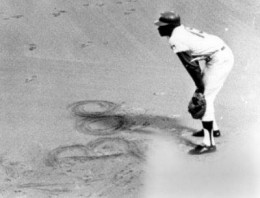 Allen would occasionally scribble messages to his detractors in the dirt around first base.