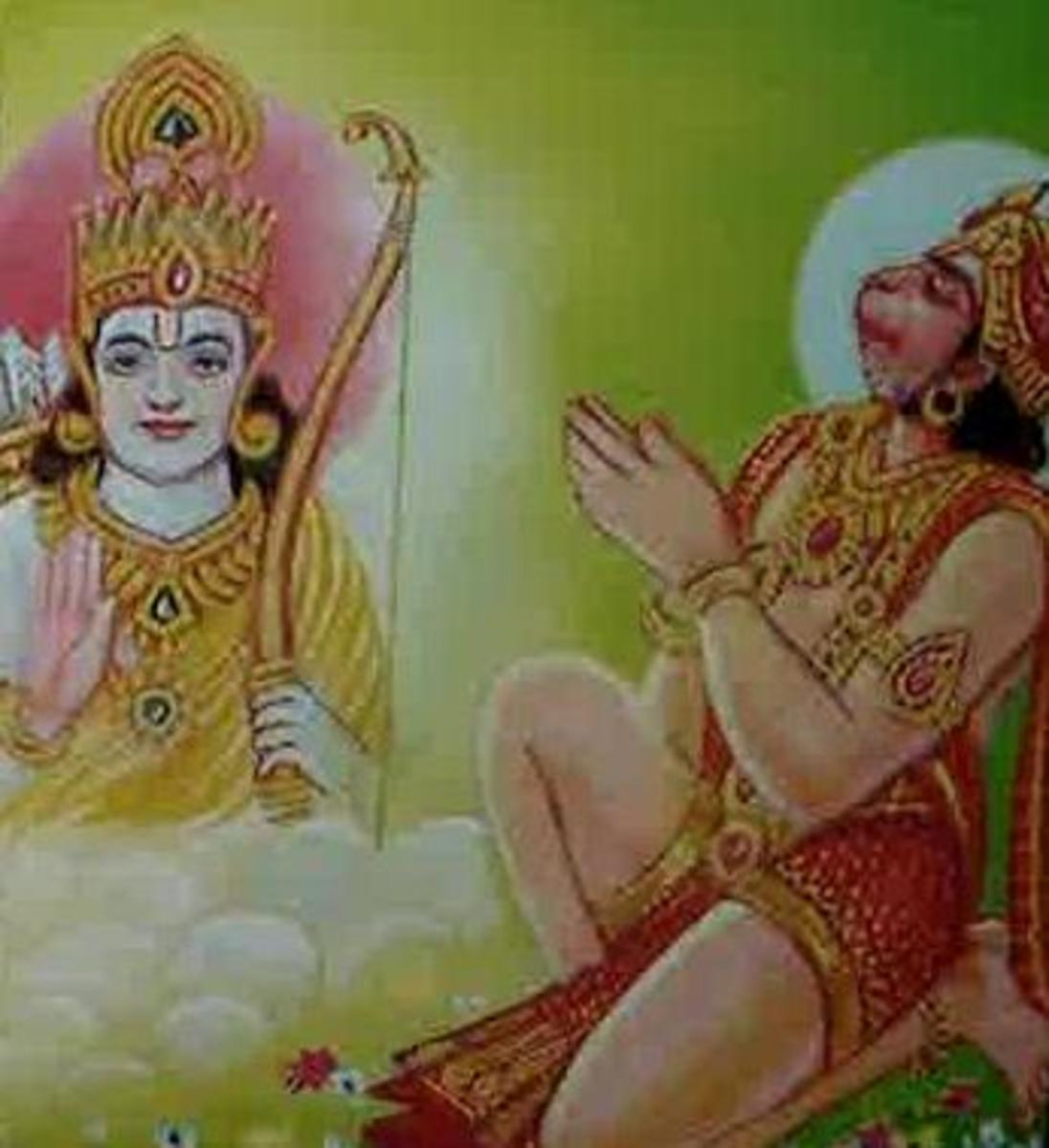 Picture depicting verse 34 of the Hanuman Chalisa
