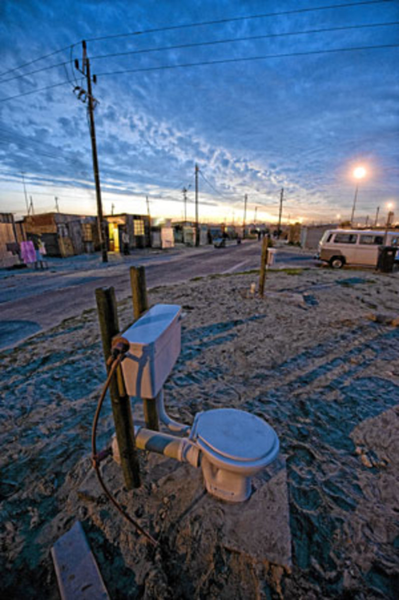 An unclosed toilet in Makhaza, Khayelitsha, Cape Town
