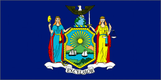 New York state Flag Emblazoned on a dark blue field is the state coat of arms. The goddess Liberty holds a pole with a Liberty Cap on top. Liberty stands for freedom. At her feet is a discarded crown, representing freedom from England at the end of t