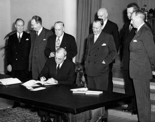 The signing of the ANZUS treaty by US secretary of state Forster Dulles, 1951, in San Francisco