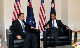 Current Prime Minister Tony Abbott talks with President Barack Obama