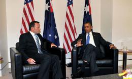 Current Prime Minister Tony Abbott talks with President Barack Obama