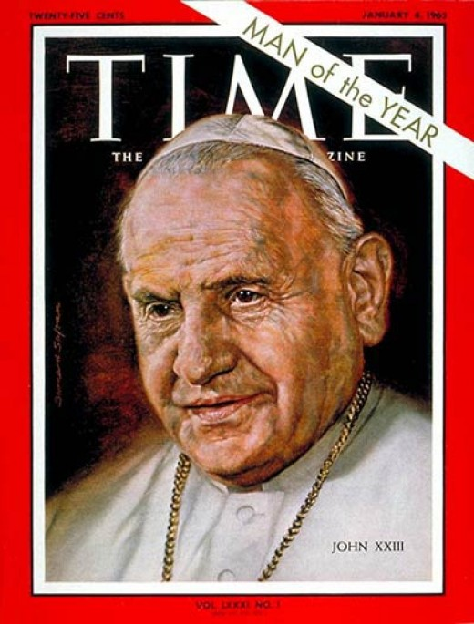 John XXIII was named man of the year 1962 in the midst of bitter conflict between the USA and Soviet Union where his influence was far wielding in averting armed conflict.