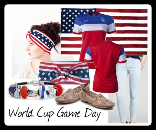 Wear your red, white and blue loud and proud in this fun World Cup game day look! Media provided by Polyvore.