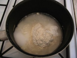 A pan full of wet ingredients
