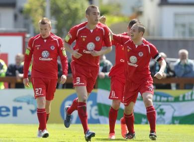 Sligo celebrate their opener.