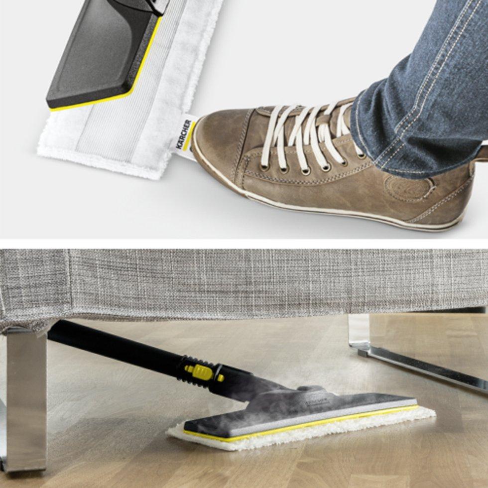SC 4 EasyFix + set de paños desechables: Kit de limpieza de suelos EasyFix con articulación flexible en la boquilla para suelos y cómodo sistema de fijación del paño para suelos