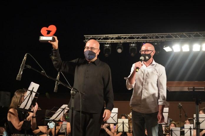 Ferrer Ferrán con el alcalde de Argamasilla de Alba