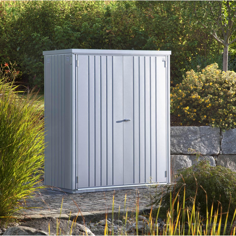 armoire de jardin metal argent metallique l 155 x h 182 x p 83 cm
