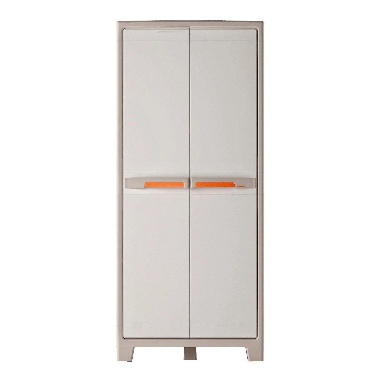 armoire haute resine 4 tablettes spaceo premium l 80 x h 182 x p 44 cm