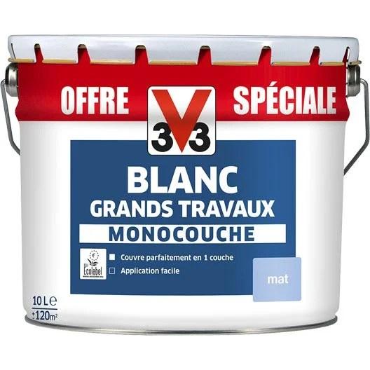 Peinture Murs Et Plafonds V33 Blanc Mat 10L Leroy Merlin