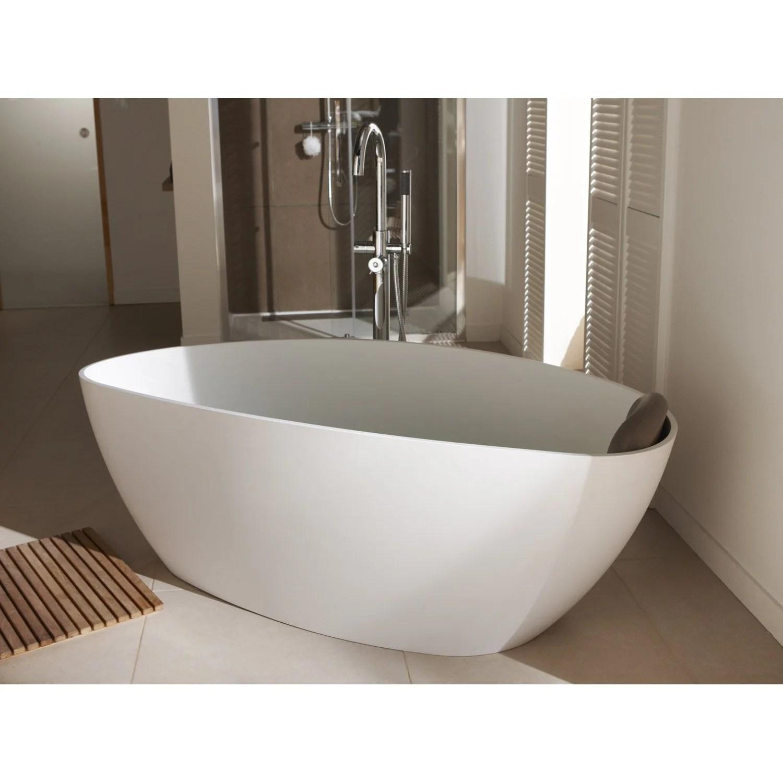 baignoire ilot ovale l 157x l 71 cm blanc mat
