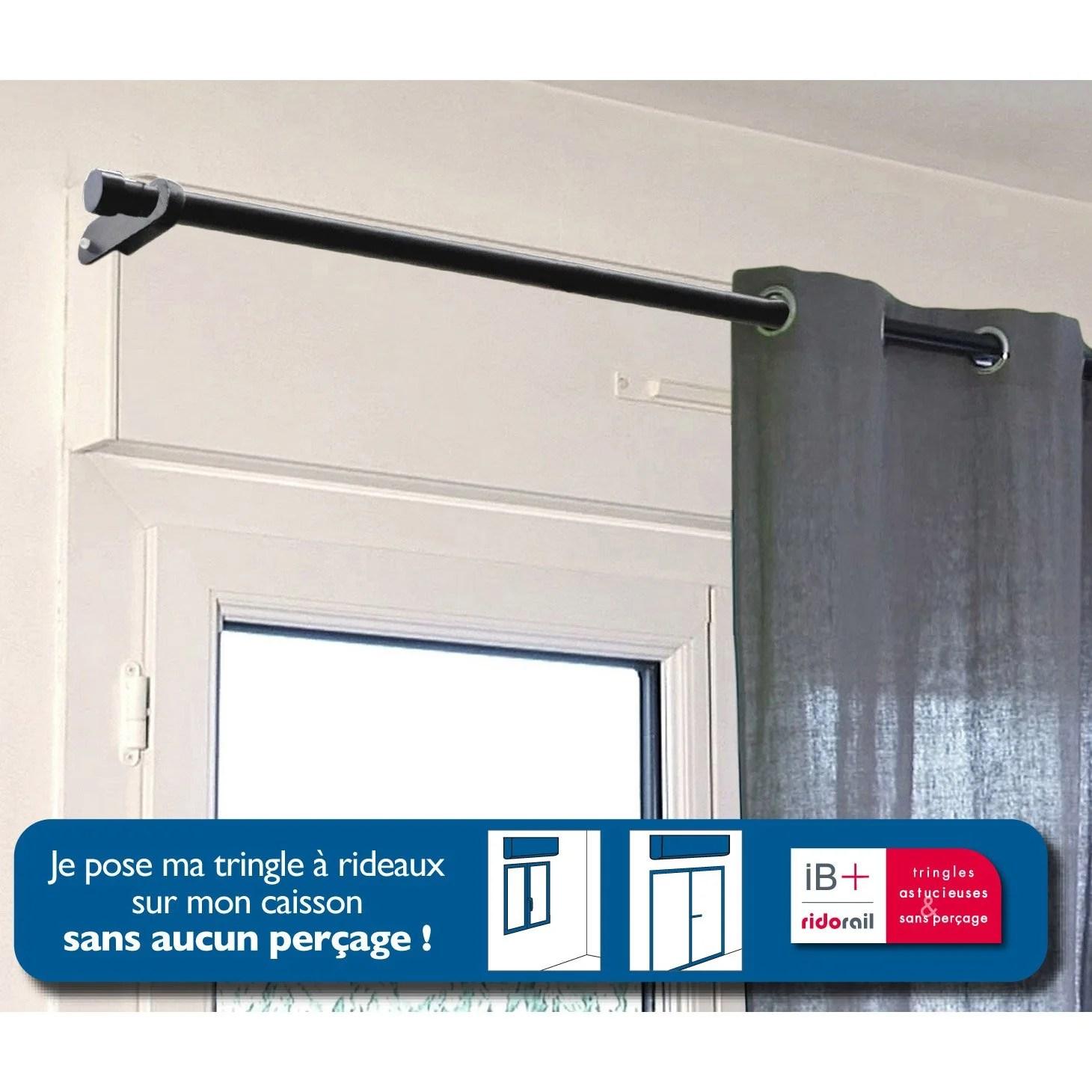 Support Sans Perage Tringle Rideau Ib 25 Mm Noir Mat
