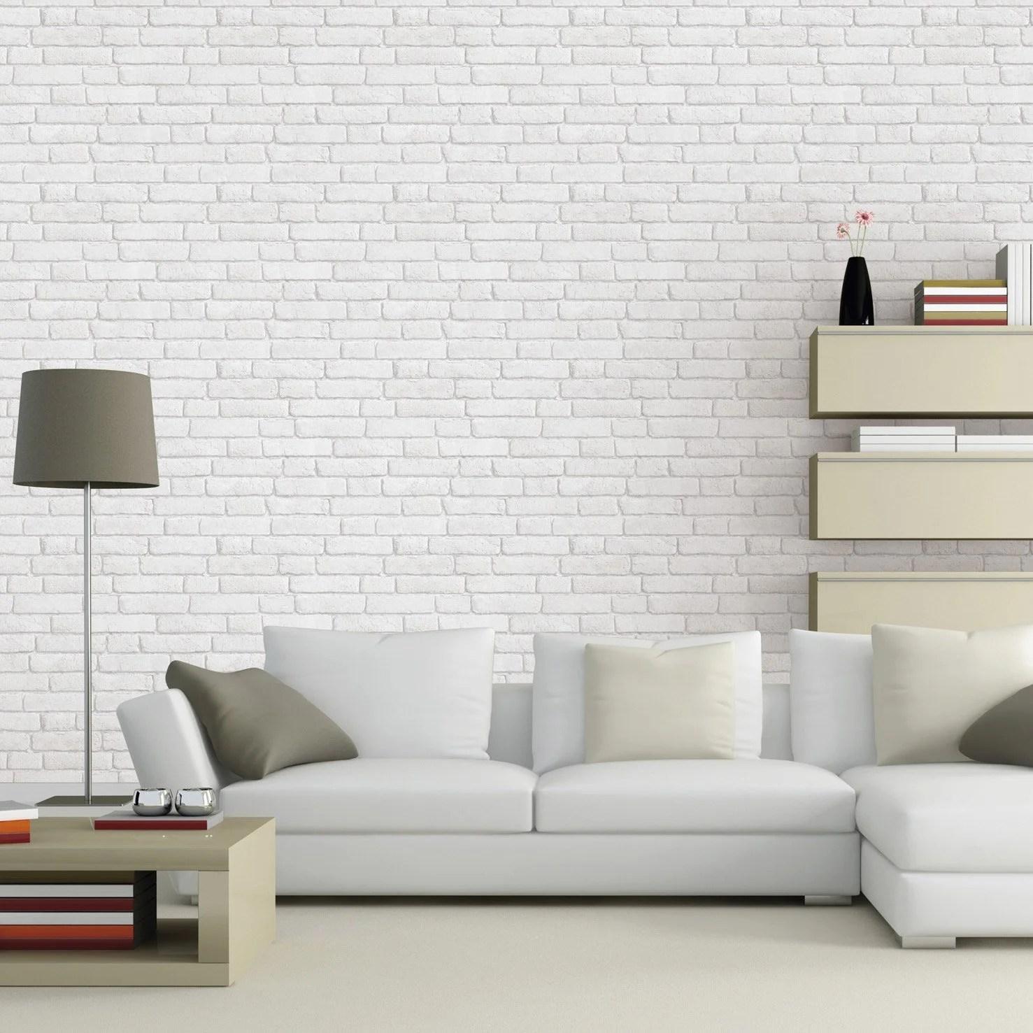 papier peint intisse briques anciennes blanc