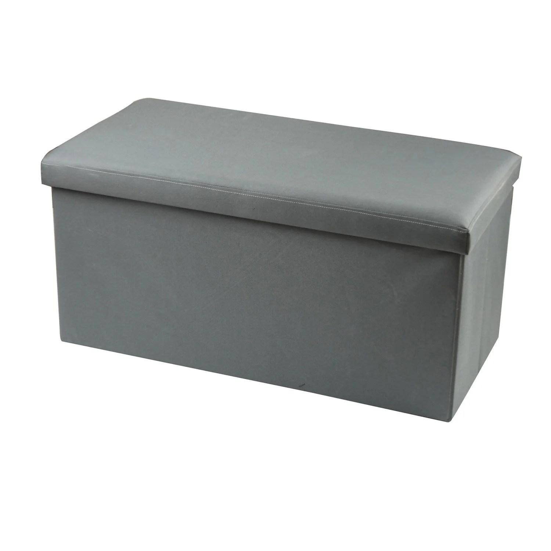 pouf banc coffre pliable gris l 76 x h 38 cm