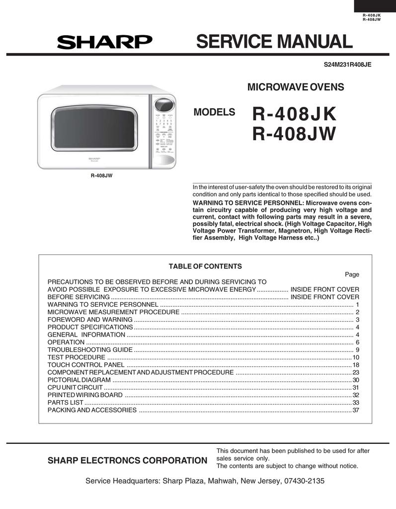 sharp r 408jw service manual manualzz