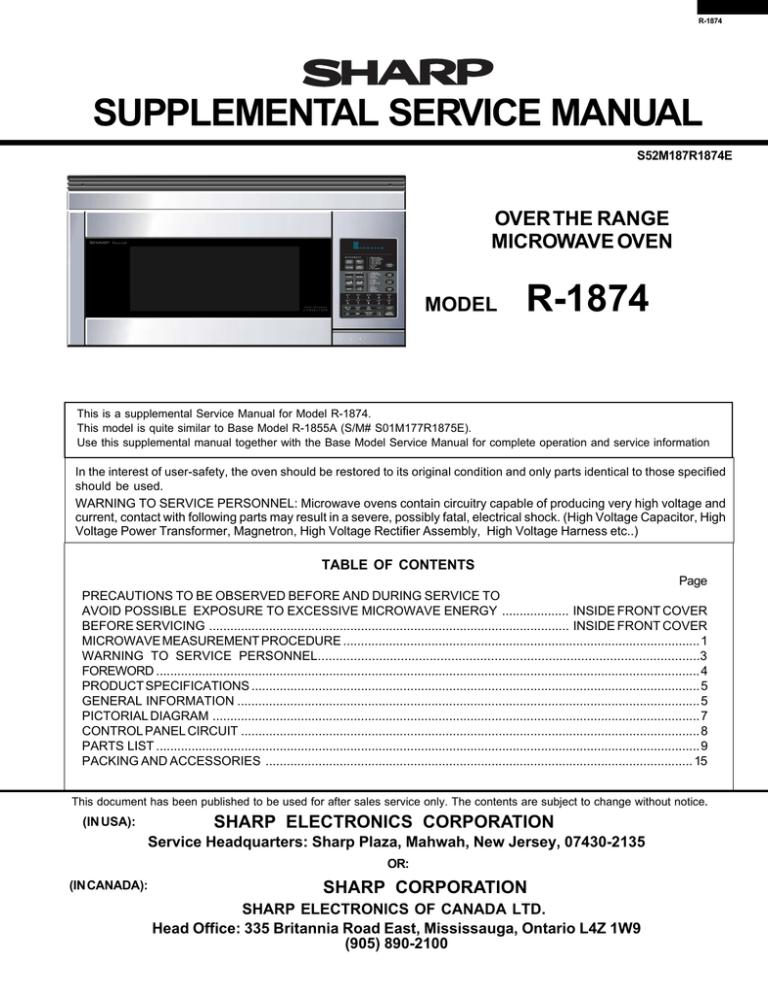 sharp r1874t service manual manualzz