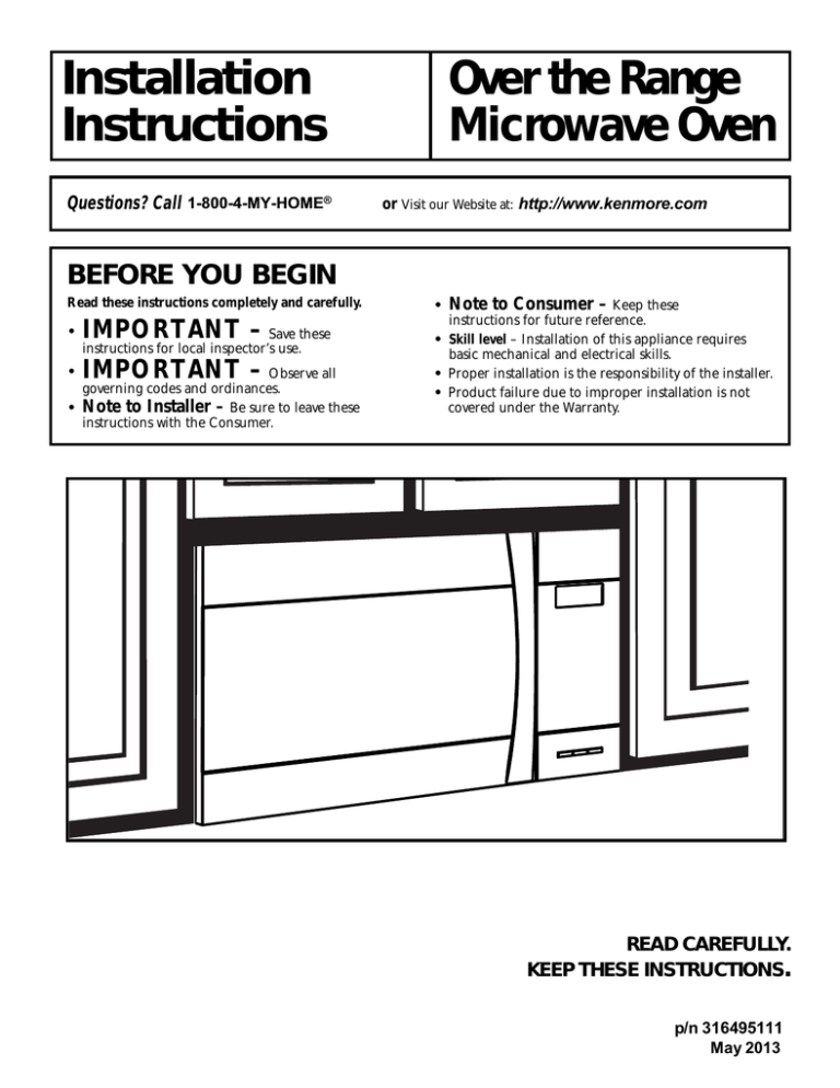 sears microwave oven installation guide