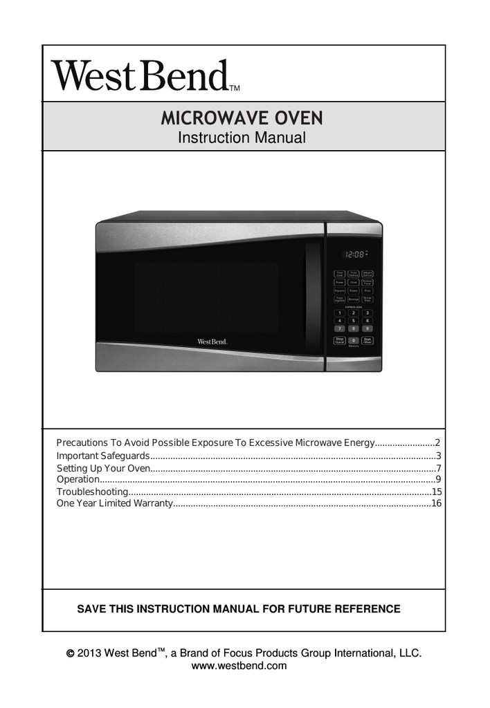 west bend microwave oven user manual