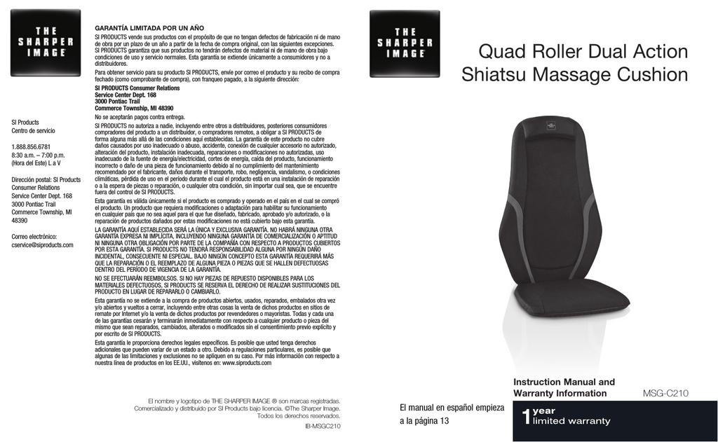 customizable shiatsu back massager