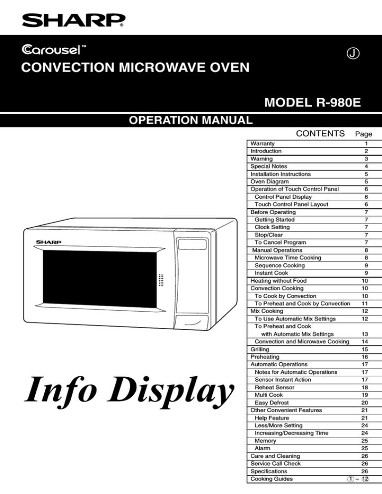 sharp r 980e specification manualzz