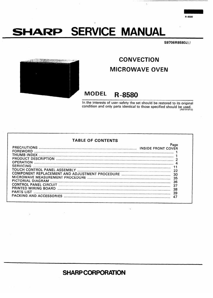 sharp r 8580 microwave oven user manual