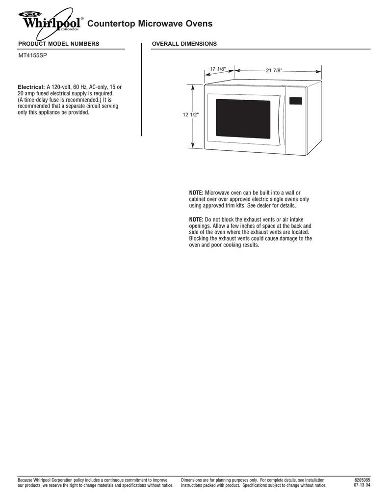 whirlpool 8205085 microwave oven user