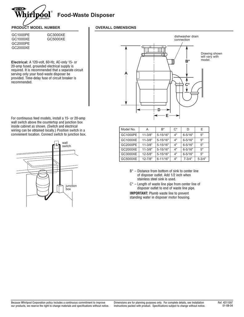 whirlpool gc1000pe garbage disposal