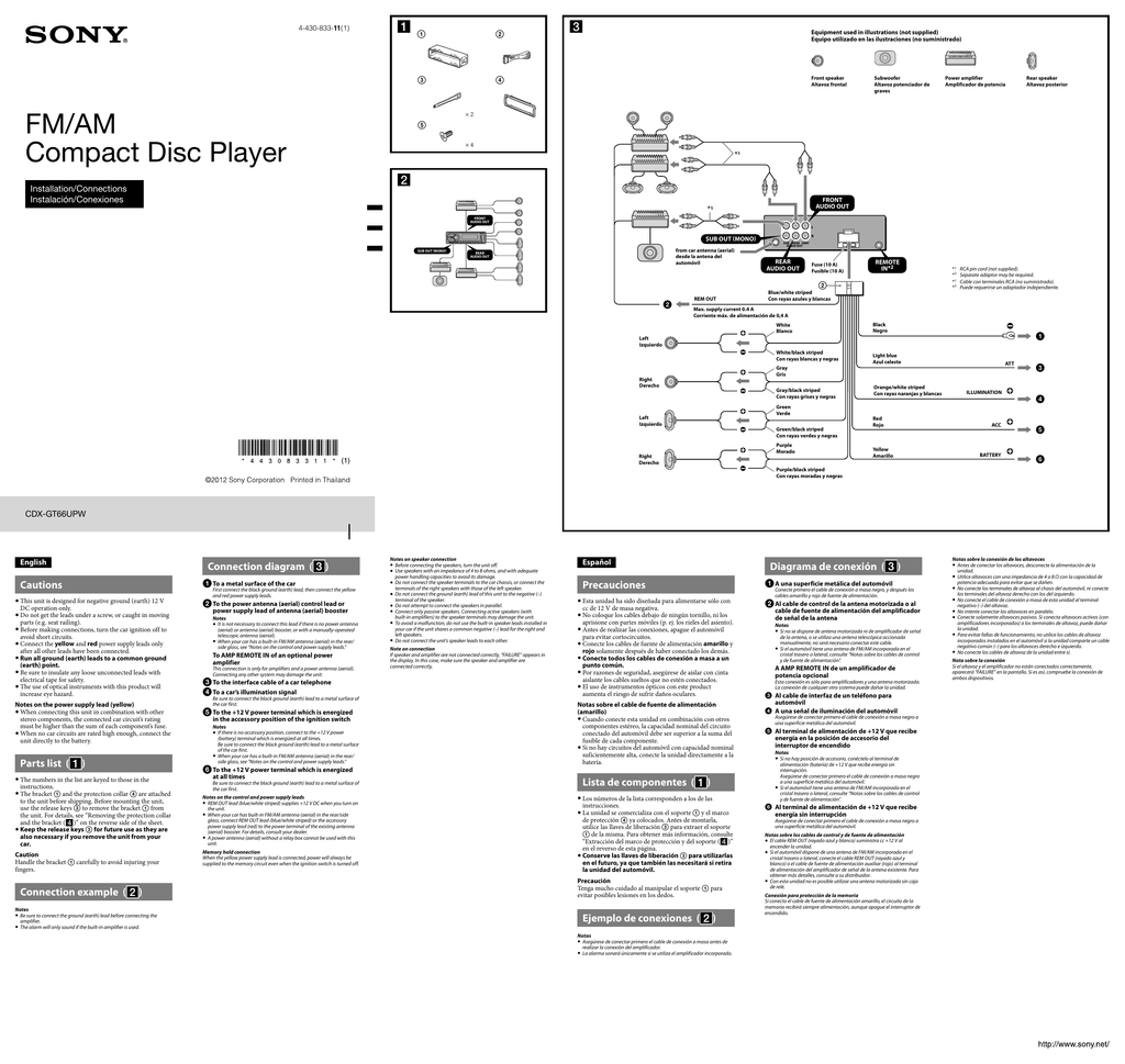 Sony Cdx Gt66upw Installation Connections Manual