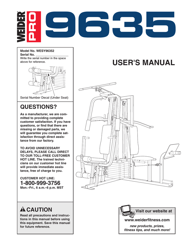 Weider Pro 9940 Exercise Manual