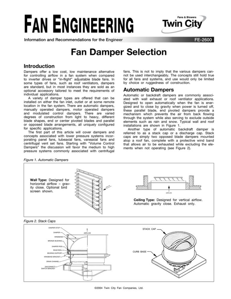 fan damper selection fe 2600 manualzz