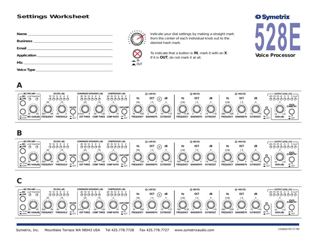 528e Settings Worksheet