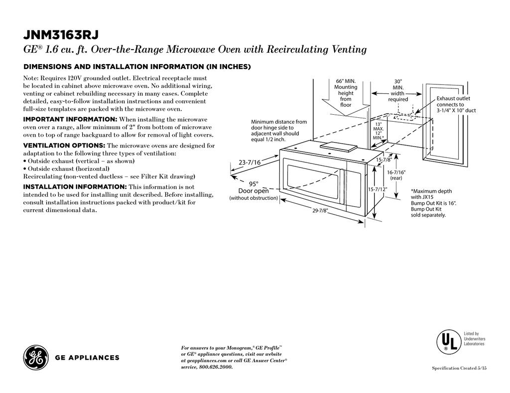 ge jnm3163rjss specification manualzz