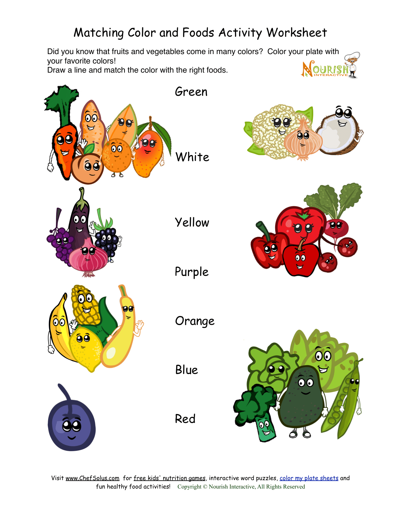 Matching Color And Foods Activity Worksheet Green White