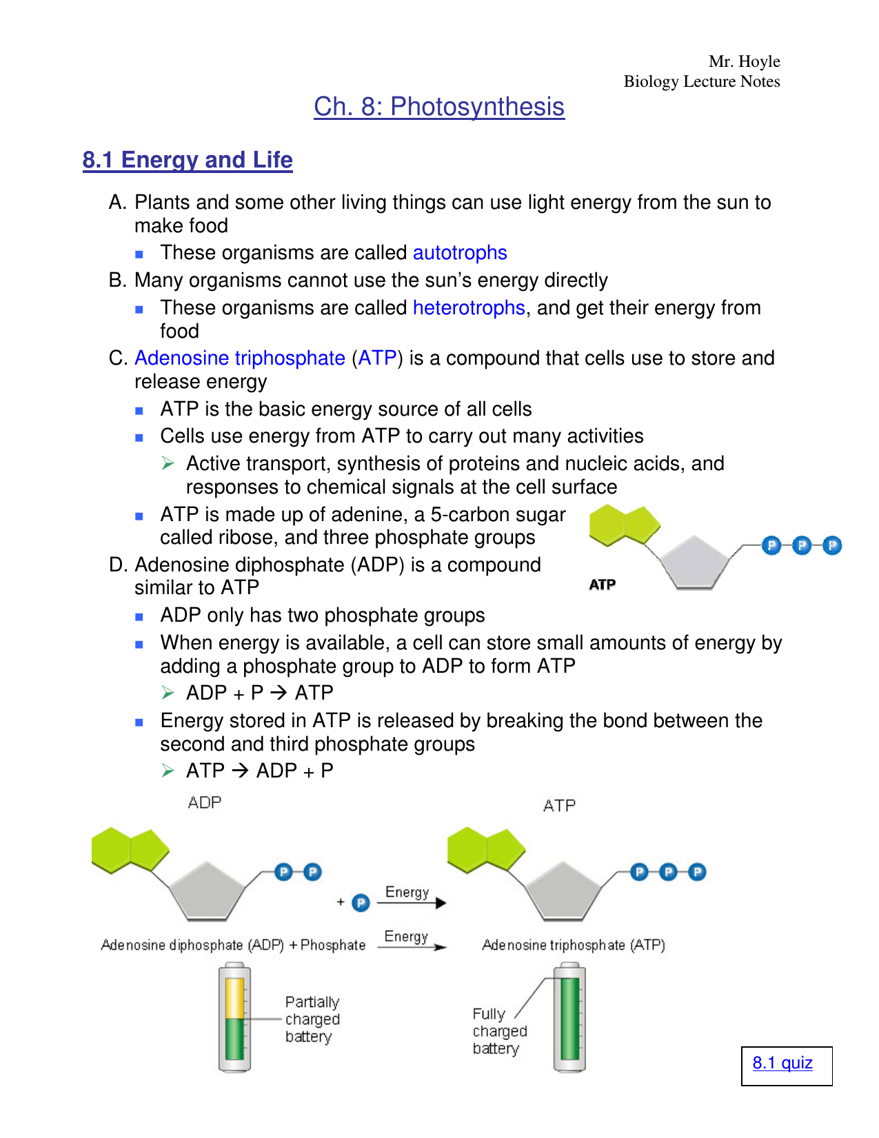 Ch 8 Photosynthesis