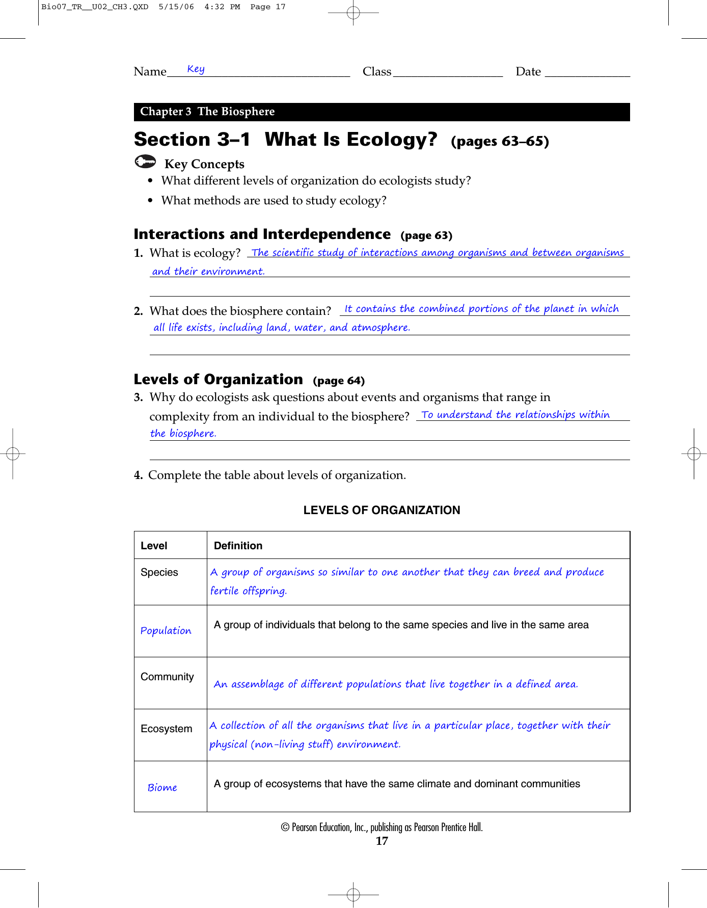 Chapter 3 Principles Of Ecology Worksheet Answers