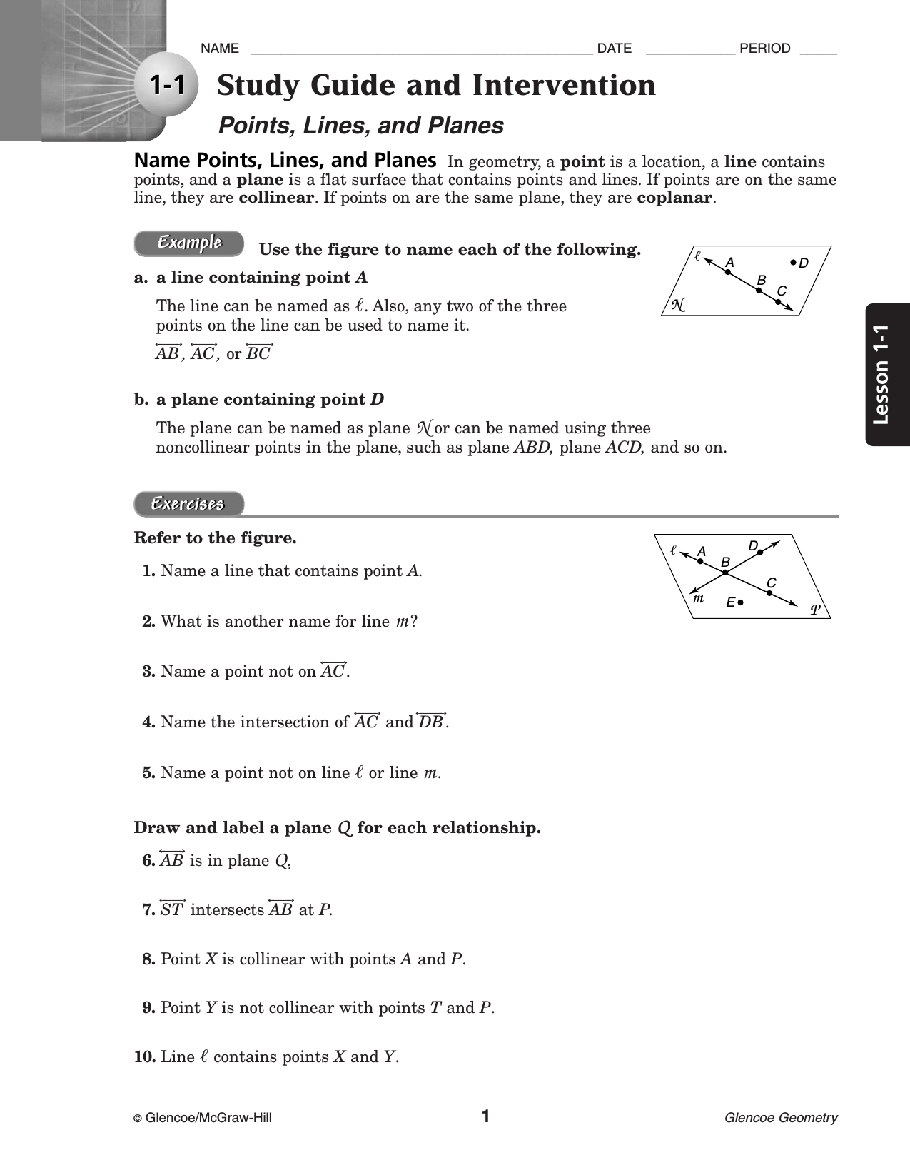 3 4 Equations Of Lines Worksheet Answers Glencoe Geometry