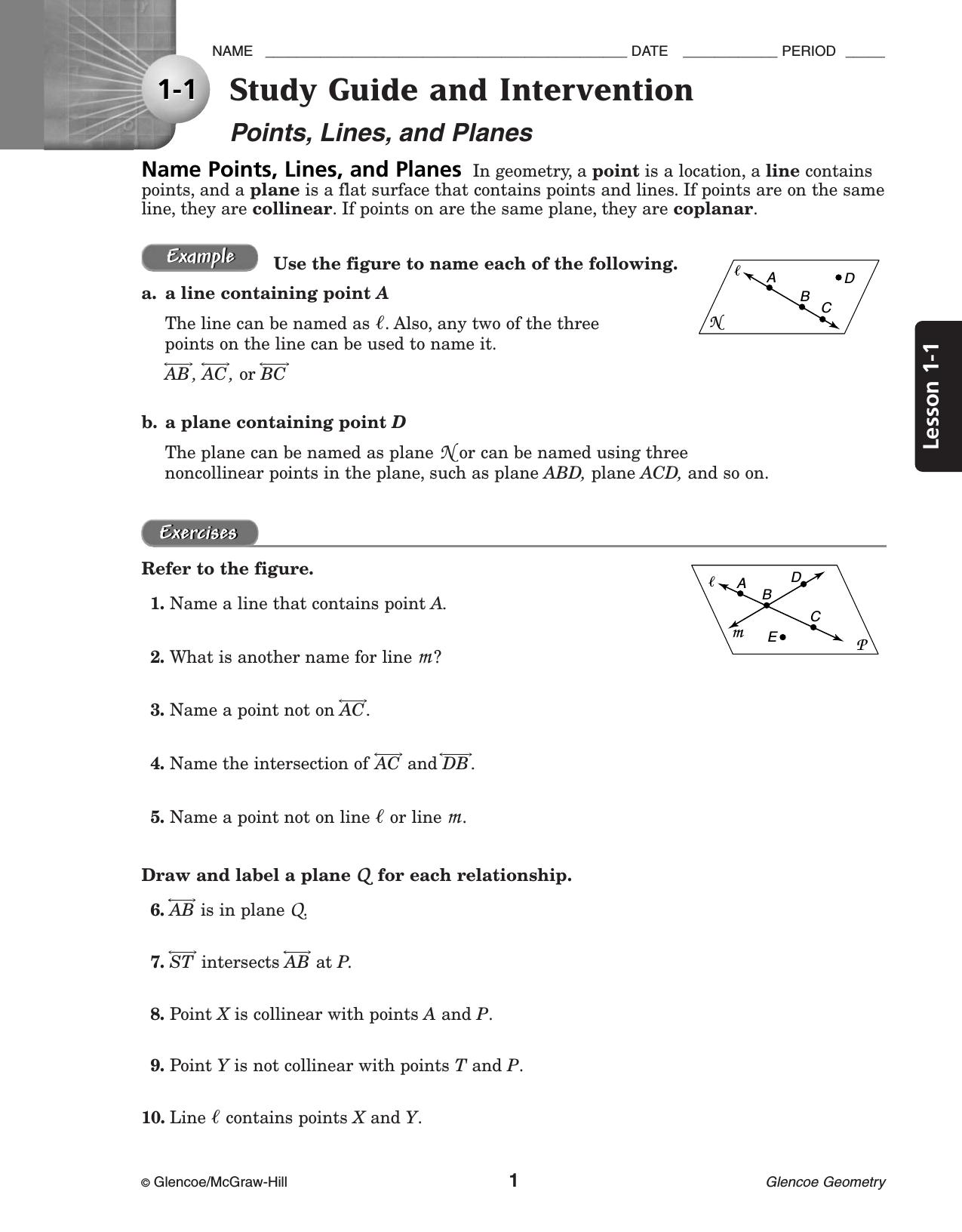 Glencoe Geometry Worksheet Answer Key